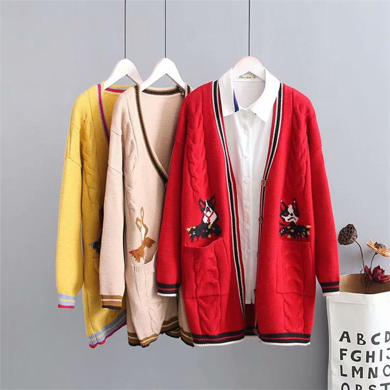 Plus size knitted wool women red & yellow & Khaki Cardigan jacket 2018 criss cross autumn ladies sweater knitwear coat female-in Cardigans from Women's Clothing    1