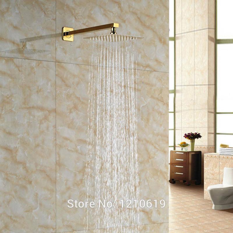 Newly Bathroom Top Shower Head Golden Polished 8-inch Rainfall Shower Sprayer w/ Arm Wall Mount цена