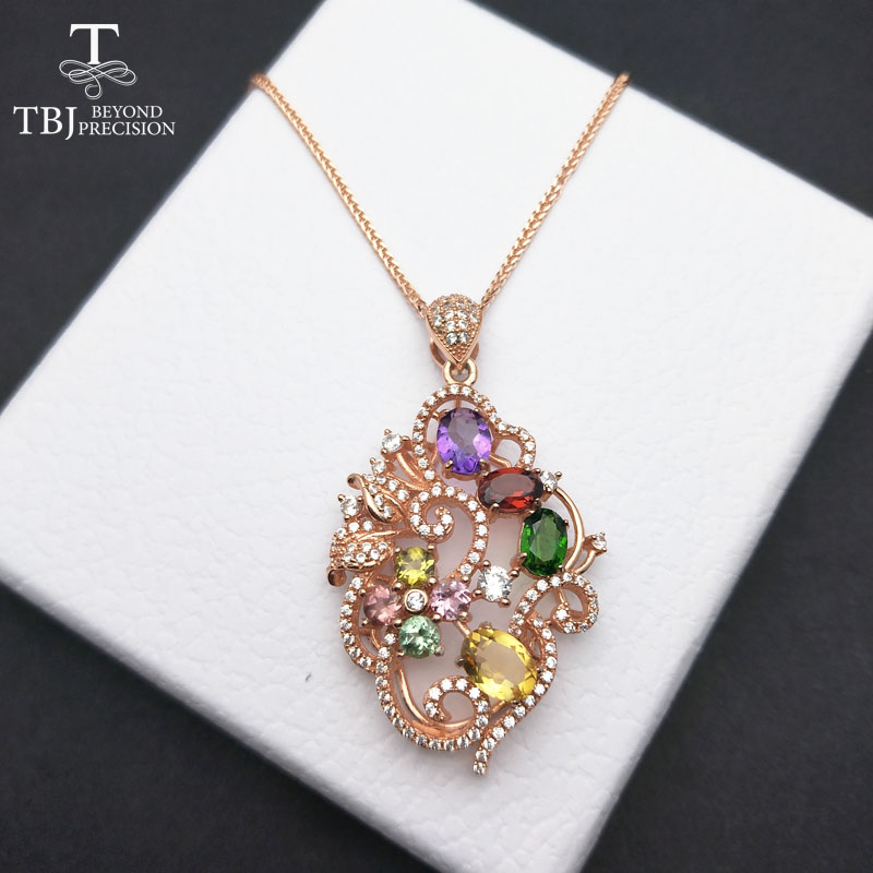 TBJ S925 silver pendant with natural multi color tourmaline and fancy color natural gemstones amethyst citrine