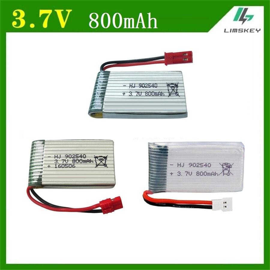 1 pièces 3.7V 800mAh 902540 Batterie Pour Syma X5C X5SC X5SW M68 X5HC X5HW X400 X800 quatre axes Modèle avion 3.7V 800mah Lipo batterie