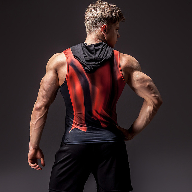 Superhero 3D printing bodybuilding stringer tank top men High elasticity fitness vest muscle guys sleeveless hoodies vest 1