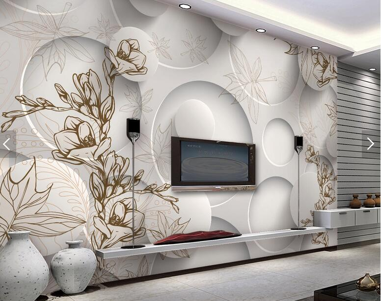 Elegant 3d Room Wallpaper Mural Wall Vintage Magnolia Leaves For Living Room TV  Backsplash Wall Decor Custom Any Size Photo Murals  In Wallpapers From Home  ...