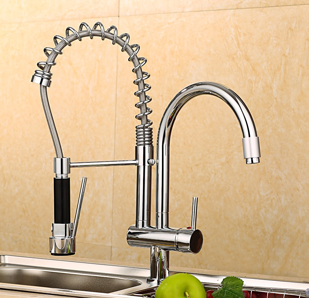 Spring Pull Out Kitchen Sprayer Faucet Brass Material Modern Chrome Double Faucet Design Hot And Cold