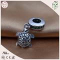 Hot Sale Popular  925 Real Silver Green Stone Turtle Charm Pendant Fitting European Famous Snake Chain
