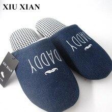 Korean Spring Cover Toe Unisex Home Slippers Solid Letter Men Slippers Flats Couple Indoor Shoes Flat Fabric Upper Floor Slipper