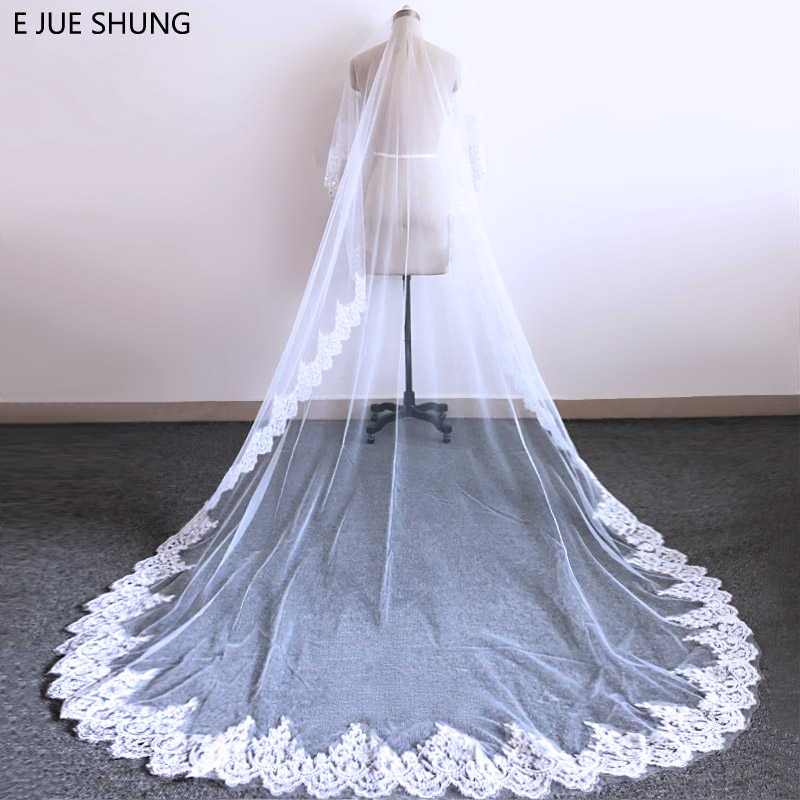 E JUE SHUNG 3 Meter White Ivory Cathedral Wedding Veils Long Bling Sequin Lace Edge Bridal Veil Wedding Accessories