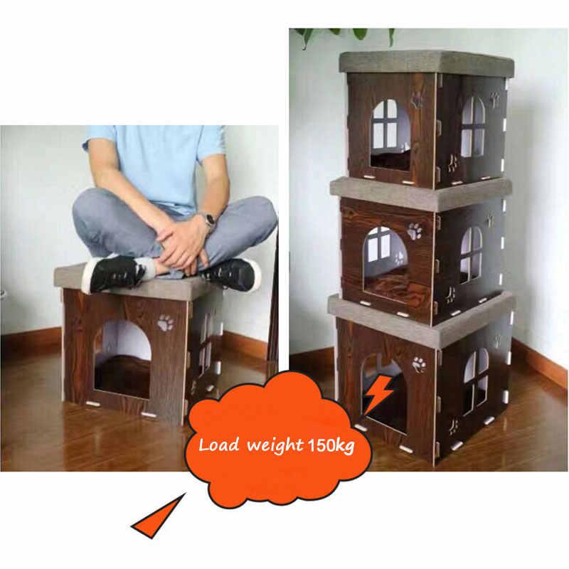Многофункциональный питомец кошка питомник деревянный дом стул Семья сидит кошек новоселье гнездо для кошек и собак дом кровать