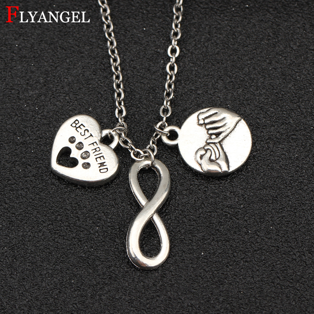 Fashion Alloy Jewelry Pinky Promise Infinity Love Heart Footprint Pendant Necklace Silver Color For Women Men Best Friends Gift