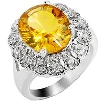 4 карат природный цитрин кольцо стерлингового серебра 925 желтый кристалл женщина мода изысканные королева подсолнечное камень подарок sr0125c