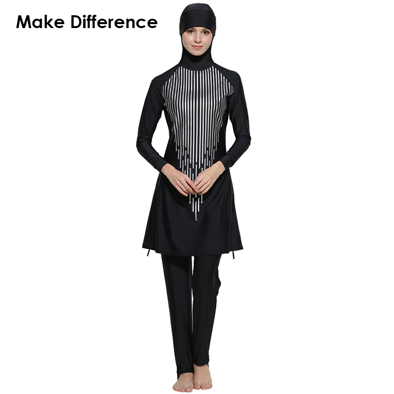 Make Difference Sequence Print Hijab Muslim Swimwear Arab Islamic Swimsuits 2 Pieces Connected Hijab Burkinis for Women Girls make difference leopard print islamic swimsuit arab swimwear 2 pieces connected hijab muslim swimsuit burkinis for women girls
