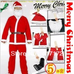 20set/lot!Adults Christmas suit/Non-woven fabric Men's Santa Clause suit 5-in-1 set (Jacket,pants,ha