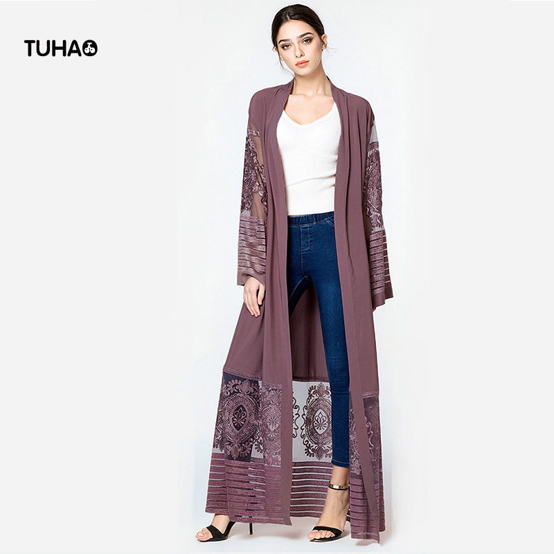 TUHAO Kimono Trench Coat Women Embroidery Mesh Patchwork Long Cardigan Windbreaker For Ladies Maxi Coats With Sashes TB1546