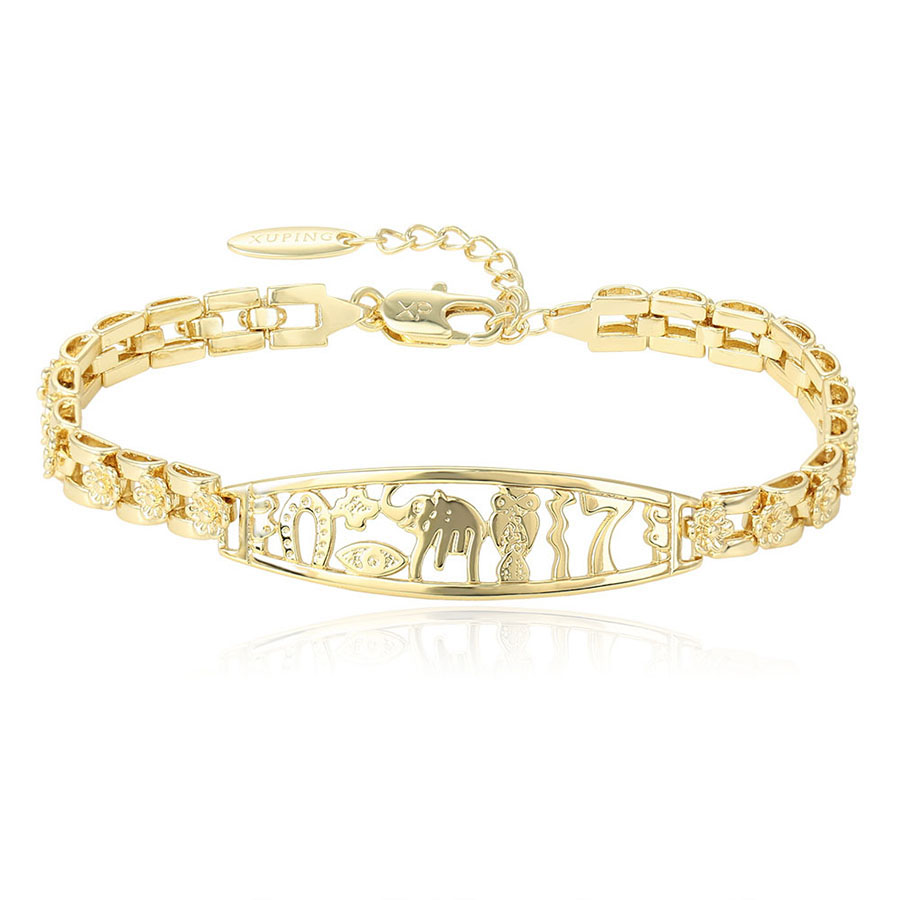 Xuping Fashion Luxury Simple Light Yellow Gold Color ...