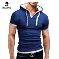 Men'S T Shirt 2016 And leisure  Hooded Sling Short-Sleeved Tees Male Camisa Masculina Slim Homme DFEUYAA