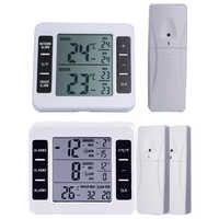 Drahtlose Digitale Akustischer Alarm Kühlschrank Thermometer mit 2PCS Sensor Min/Max Display Indoor Outdoor Thermometer