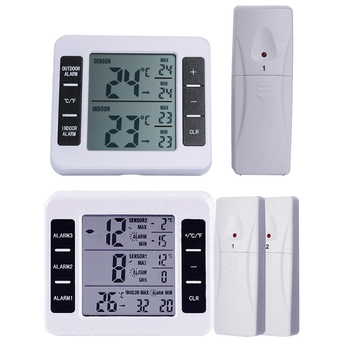 Wireless Digital Audible Alarm Refrigerator Thermometer with 2PCS Sensor Min/Max Display Indoor Outdoor ThermometerWireless Digital Audible Alarm Refrigerator Thermometer with 2PCS Sensor Min/Max Display Indoor Outdoor Thermometer