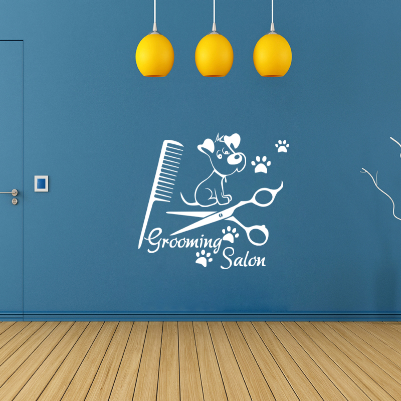 <font><b>Sticker</b></font> <font><b>Muraux</b></font> Pet Dog Grooming Salon Vinyl Mural Decals Wallpaper for Pet Shop Wall Poster Home Decor House Decoration image