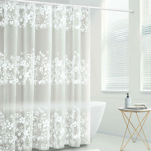 Image 3 - UFRIDAY Waterproof Shower Curtains Transparent Floral Shower Curtain PEVA Plastic Bathroom Curtain White Flower Bath Curtain