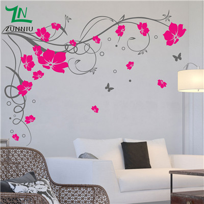 J3 Butterfly Vine CORNER Flower Wall Art Stickers, Wall Graphics Bedroom  Background Wall Sticker Decorative Art Magnolia Flower  In Wall Stickers  From Home ... Part 89