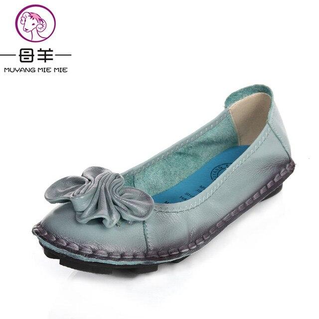 MUYANG Chino Marcas Mocasines Planos de Cuero Genuino de Las Mujeres Zapatos de Mujer Hecho A Mano Suave de la Flor Zapatos Cómodos Ocasionales de Las Mujeres Pisos