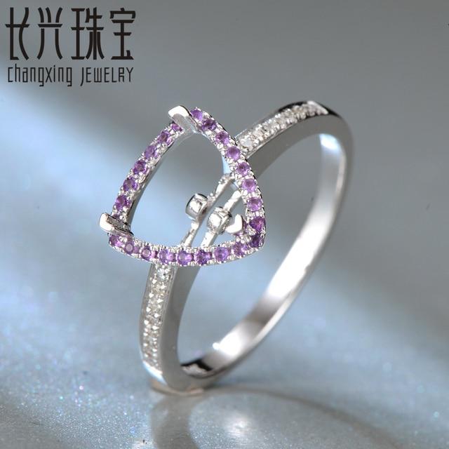 14Kt White Gold Diamond Amethyst Semi Mount Engagement Ring Setting