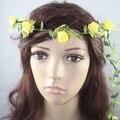 Lady Popular novia floral aro hairbands moda hecho a mano se levantó guirnalda de la flor playa exterior fotos accesorios para el cabello para mujeres