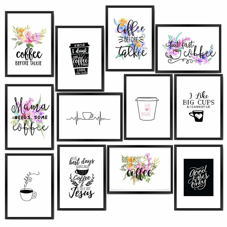 Modern Coffee Quote Posters Prints Colorful Flowers Pictures On The Wall For Living Room Home Decor Canvas Painting Nordic Art