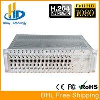 DHL Бесплатная доставка 3U шасси 16 Каналы H264 HDMI + CVBS AV RCA/BNC HD SD UDP кодировщик H.264 для потокового вещания, отель IPTV