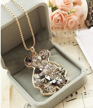 Venta caliente de alta calidad oso collar/Corea marca austria cristal animal oso joyería mujeres accesorios/femme collier/colares longos