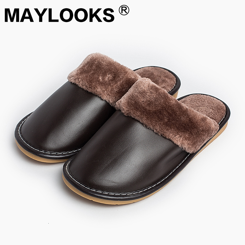 Heren Slippers Winter Pu leer dik met pluche Home Indoor antislip Thermische sloffen 2018 New Hot Sale Maylooks M-8813