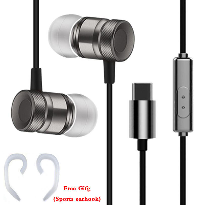 все цены на Original HC065 in-ear headset metal piston wire earphone sport stereo bass headphone with microphone for Letv LeEco type-c phone онлайн
