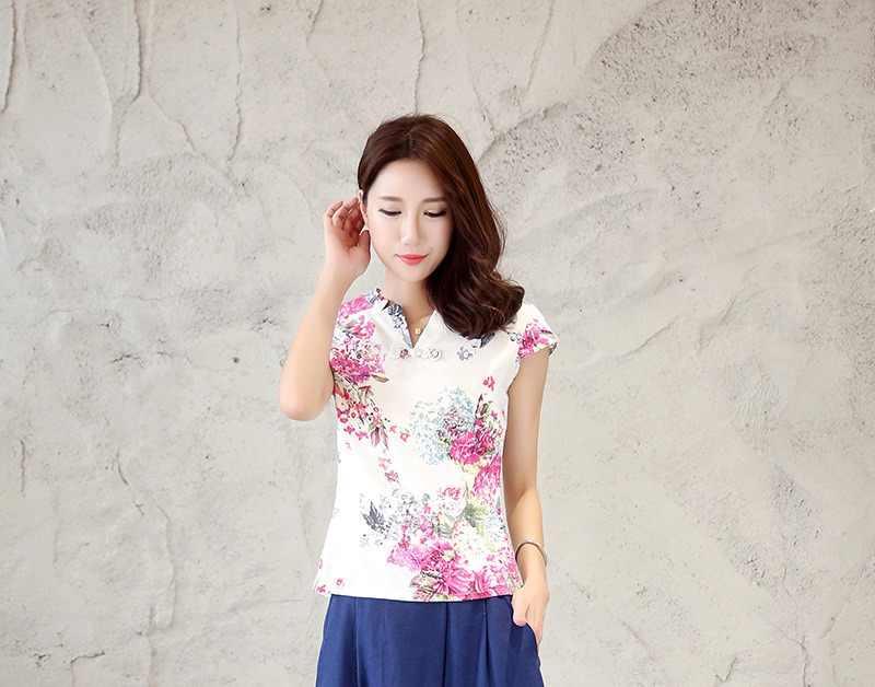 上海ストーリー V ネックの女性のシャツ中国の伝統的な中国風のチャイナ伝統的な中国リネンブラウス