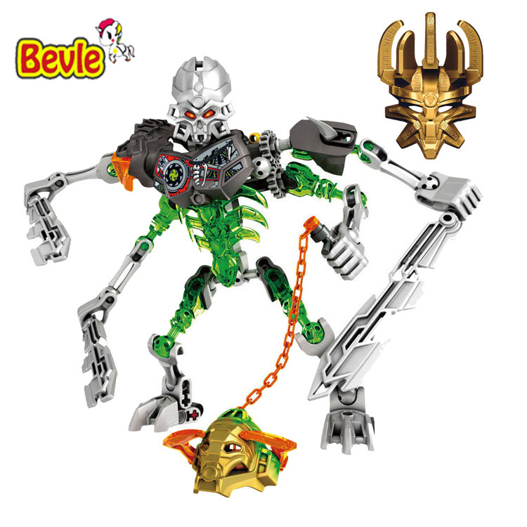 Bevle BionicleMask of Light XSZ 710-2 Children's Skull Slicer Bionicle Building Block Toys Compatible with Lepin 70792 smartable bionicle 191pcs umarak destroyer figures 614 building block toys compatible legoing bionicle lepin gift