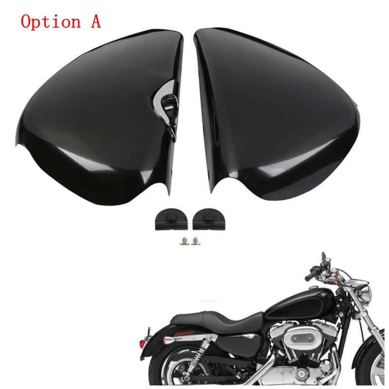 Motorcycle Motorbike Left Right Side Battery Cover For Harley Sportster XL 1200 Iron 883 2004-2013 Street 500 XG750 2014-2017 15 mtsooning timing cover and 1 derby cover for harley davidson xlh 883 sportster 1986 2004 xl 883 sportster custom 1998 2008 883l