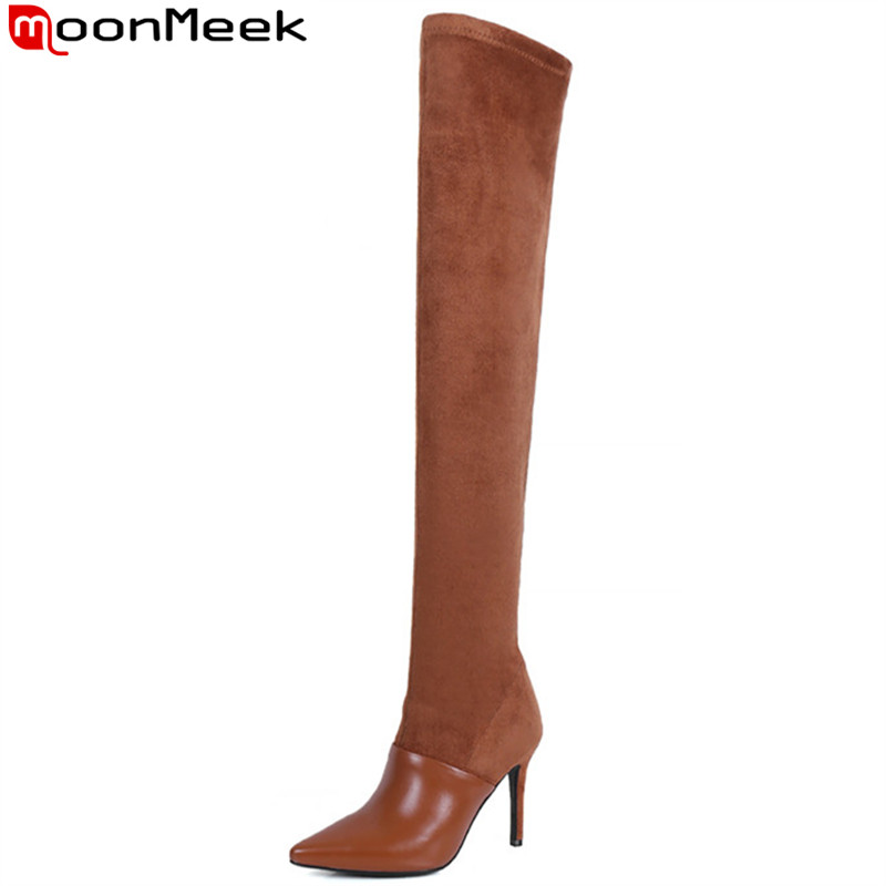 MoonMeek black fashion autumn winter boots women pointed toe zip over the knee boots super high heels genuine leather boots цена 2017