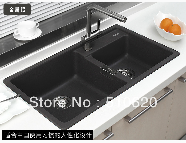 Free shipping FQ850 Granite kitchen double sink 4 colours for choice ...