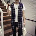 Vest Men Spring New Single Breasted Loose Casual Plaid Vests For Men Fashion Turn Down Collar Plus Size Sleeveless Waistcoat 5XL