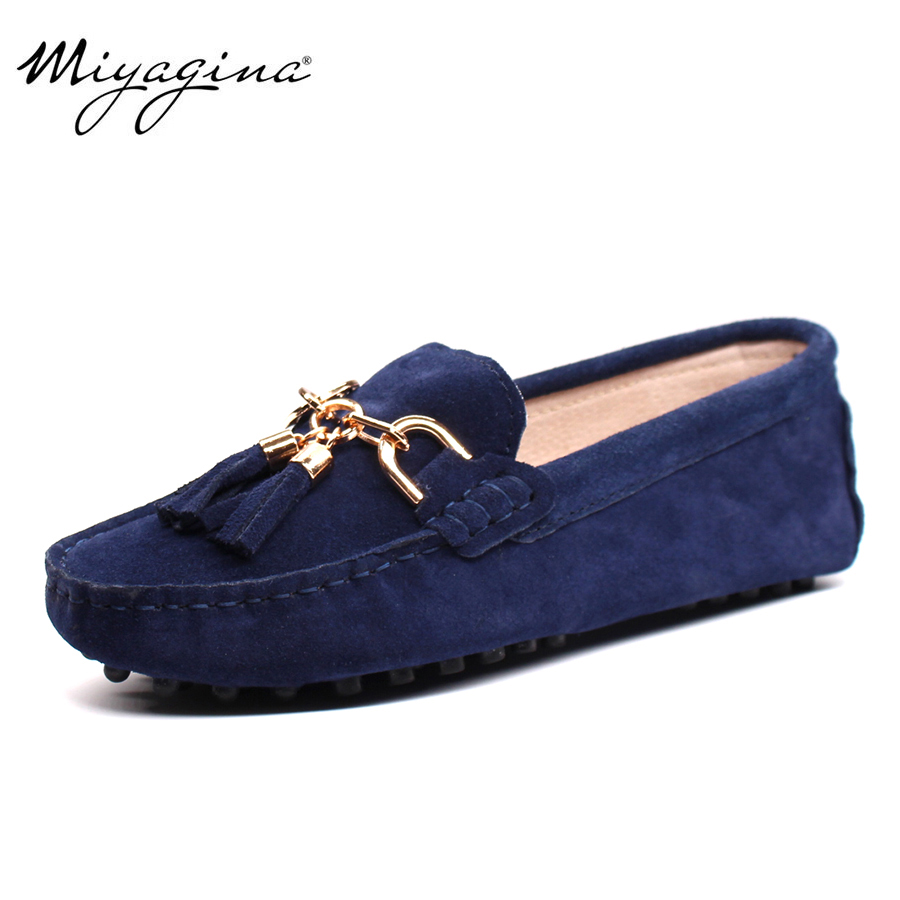 MIYAGINA 2019 New Arrival Casual Women's Shoes Ekte lær Kvinner Loafers Moccasins Fashion Slip On Women Flats Sko
