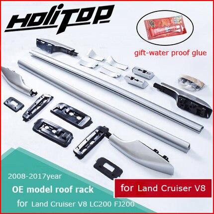 OE modèle toit rack rail de toit bar pour Toyota Land Cruiser V8 LC 200 LC200 FJ 2008-2018 année, argent ou noir, ISO9001 qualité