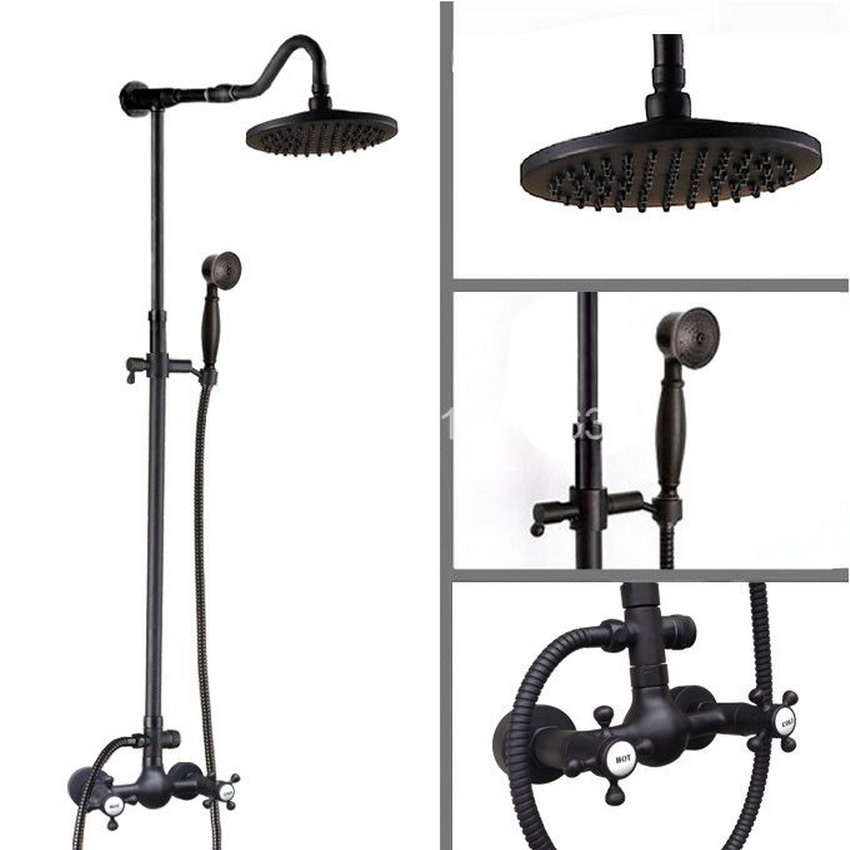 Hot Cold Cross Handles Wall Mounted Contemporary Oil Rubbed Bronze Bathroom Rainfall Shower Faucet Set ars795