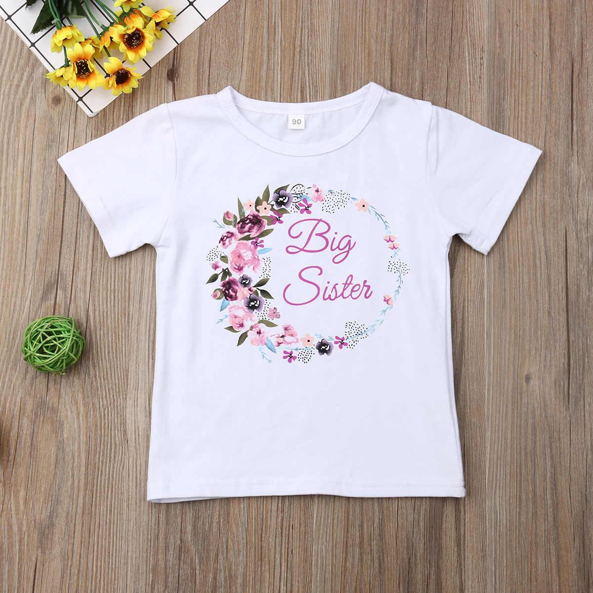 2019 lato duży siostra mała siostra rodzina pasujące ubrania maluch dzieci dziewczynek Romper starsza siostra Tshirt strój odzież dla