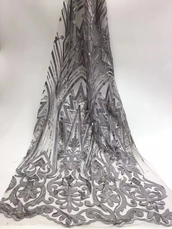 Tissu de dentelle africaine de luxe tissu de dentelle guipure français de haute qualité 2019 nouveauté tissu de dentelle de paillettes pour la fête