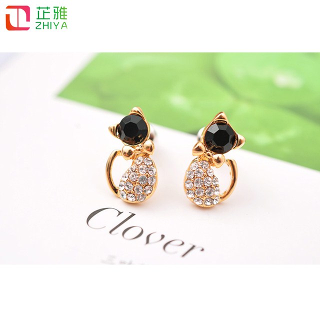 Zhiya Fashion Luxury Gold Cat Earrings With Zircon Stone Gift Stud For Lady