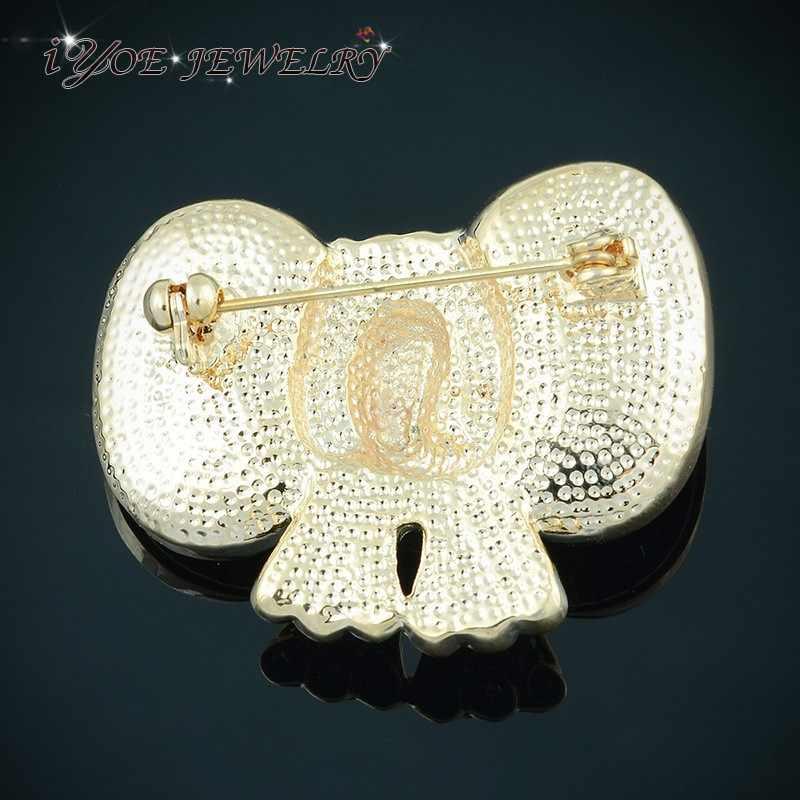 Iyoe Baru Desain Emas/Perak Warna Bros & Pin 4 Warna Hewan Lucu Gajah Kristal Wanita Bros Pakaian aksesoris