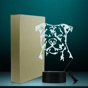 Image 5 - Moderne Staffordshire Bull Terrier LED Nachtlicht Tier Haustier Hund Welpen 3D Optische illusion Lampe Wohnkultur Tisch Lampe Schreibtisch licht