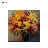MYT Free Shipping Modern Abstract Yellow Flowers Painting Wall Art Canvas Handmade Oil Painting On Canvas For Hotels