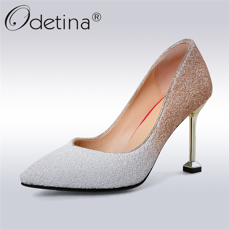 Odetina 2018 New Fashion Wedding Shoes For Women Sequined Cloth Slip On Bling Sexy Pumps Thin High Heels Pointed Toe Pump Shoes