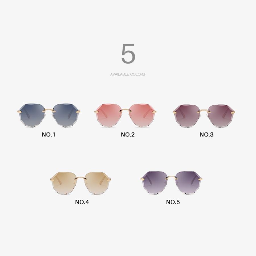 AEVOGUE Sunglasses For Women ladies Rimless Diamond cutting Lens Brand Designer Ocean Shades Vintage Sun Glasses AE0637 5