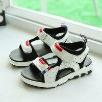 Summer Genuine Leather Boys Sandal Open Toe Children Beach Shoes Black White Casual Sports Sandals Anti