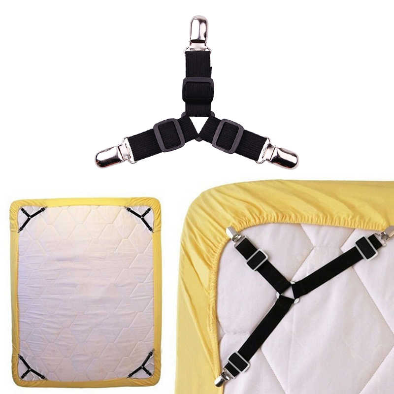 4pcs Three-Head Clamp Elastic Cover Blanket Grippers Holder Bed Sheet Clip Mattress Fasteners Fixing Slip-Resistant Belt Clip